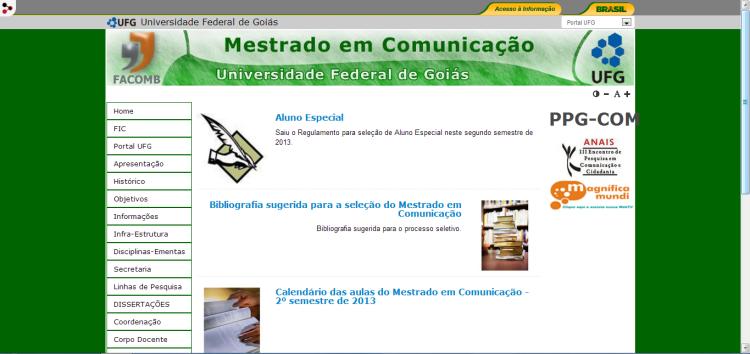 Bibliografia sugerida para a seleção do Mestrado em Comunicação da UFG